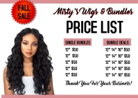 Wigs weave bundles hair extension price list Cartolina template