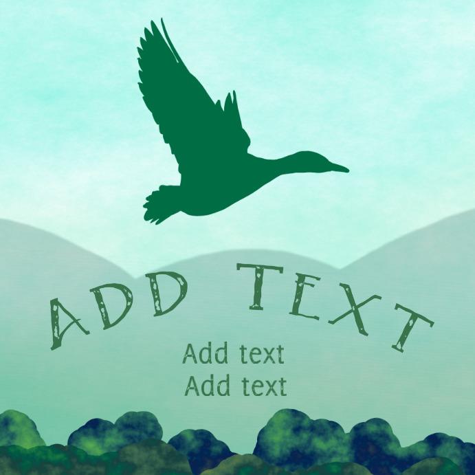 wild duck flying - mallard instagram template