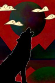 wild landscape - howling wolf & moon