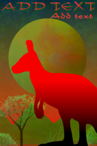 wild red giant kangoroo australian landscape with moon