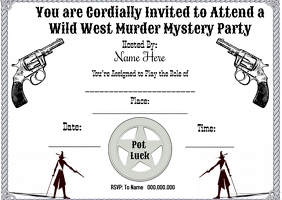 Wild West Mystery Dinner Postcard template