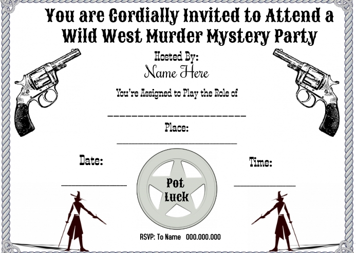 Wild West Mystery Dinner Kartu Pos template