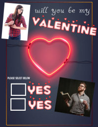 will you be my valentine photo collage Pamflet (Letter AS) template