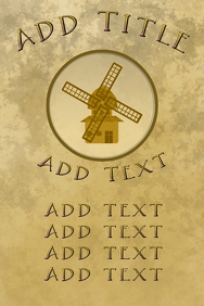 windmill, old paper and golden letters
