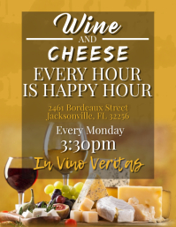 Wine & Cheese Happy Hour Flyer (US Letter) template