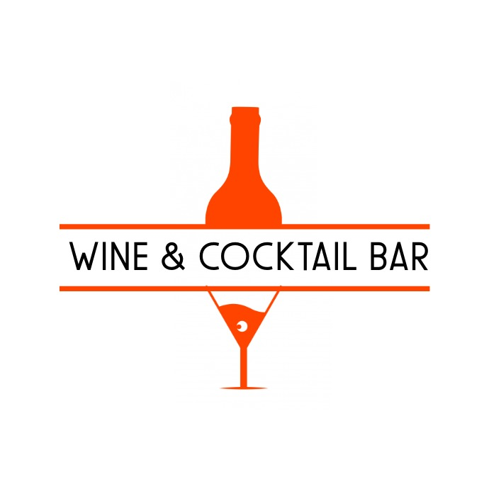 wine & cocktail bar red logo template