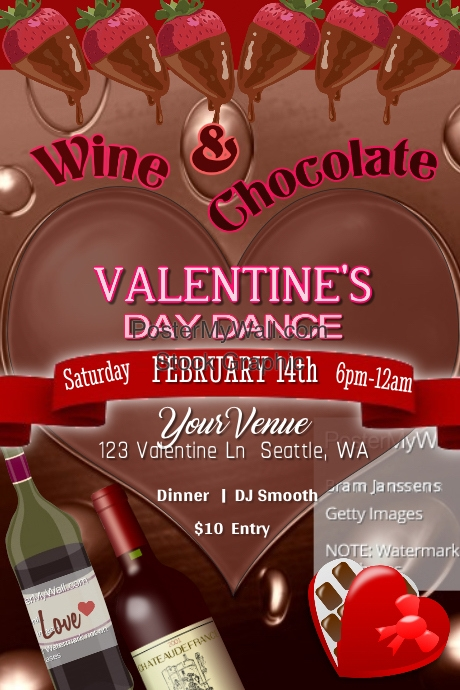 Wine & Chocolate Valentines Dance Poster