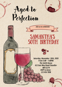 Wine adult aged to perfection birthday A6 template