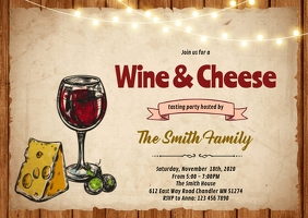 Wine and cheese party invitation A6 template