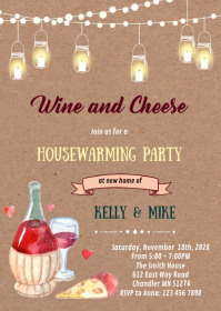 Wine and cheese theme invitation A6 template