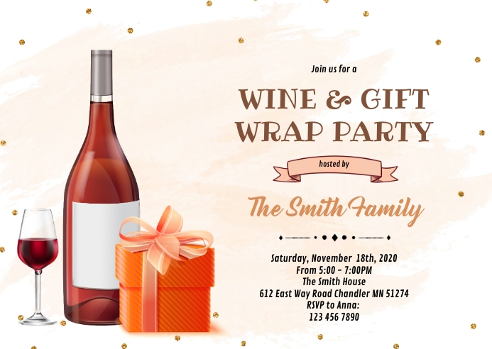 Wine and gift wrap party A6 template