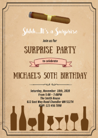 Wine and smoke birthday invitation