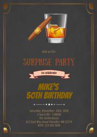Wine and smoke birthday invitation