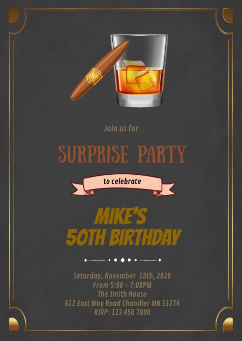 Wine and smoke birthday invitation A6 template