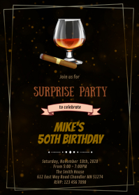 Wine and smoke birthday invitation A6 template