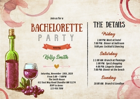 Wine Bachelorette itinerary invitation A6 template