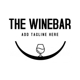 Wine bar black and white logo 徽标 template