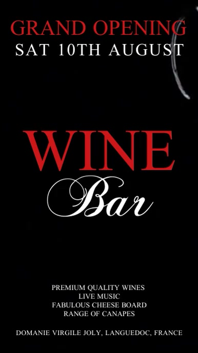 Wine Bar Video Template Ecrã digital (9:16)