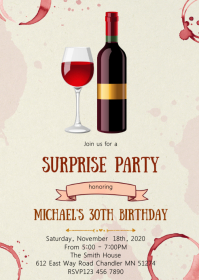 Wine birthday party invitation A6 template