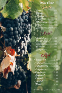 Wine card Menu Template