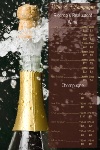 Wine Champagne Card Menu Template