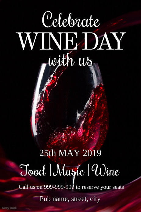 Wine day poster Plakat template