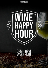 Wine Happy Hour flyer 1 A4 template