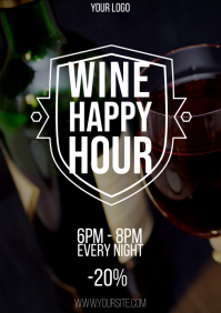 Wine Happy Hour flyer 2 A4 template