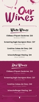 Wine List Half Page Letter template