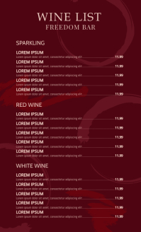 Wine List Menu Design Template US Legal