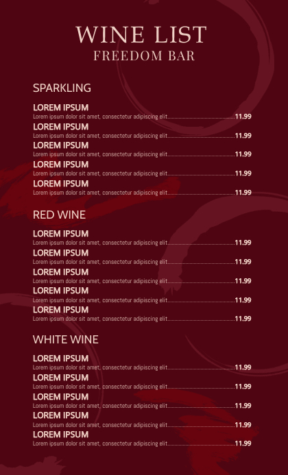Wine List Menu Design Template Legal AS