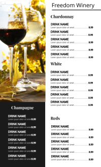 Wine List Menu Flyer Templatee US Legal