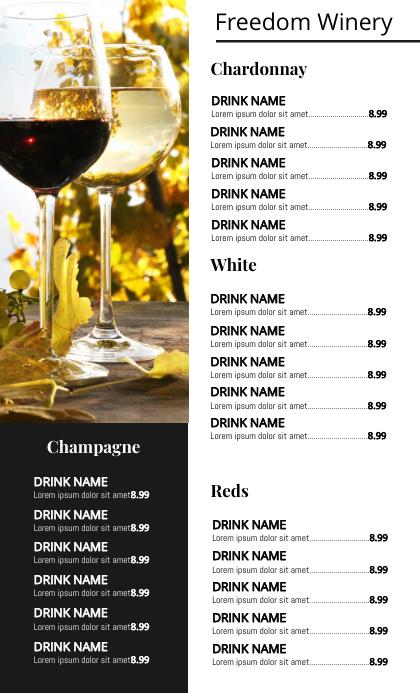 Wine List Menu Flyer Templatee Amerikansk lov