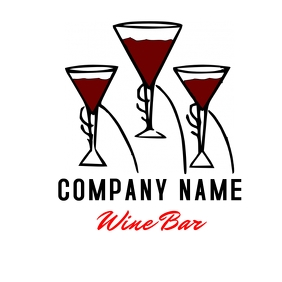 wine lounge bar logo template