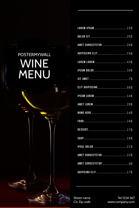 Wine Menu Card Design Template