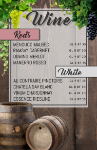 wine menu Mezza pagina Wide template