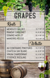 wine menu Halfbladsy Breed template