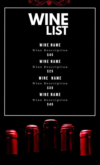 Wine Menu list US Legal template