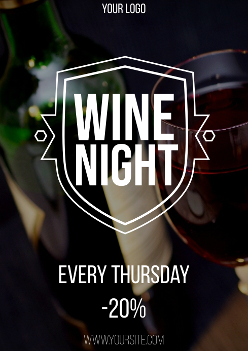 Wine night promo flyer A4 template