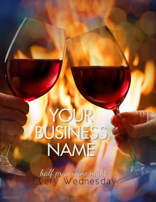 wine night wine Wednesday specials Flyer template