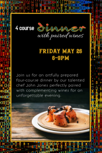 wine pairing dinner event flyer