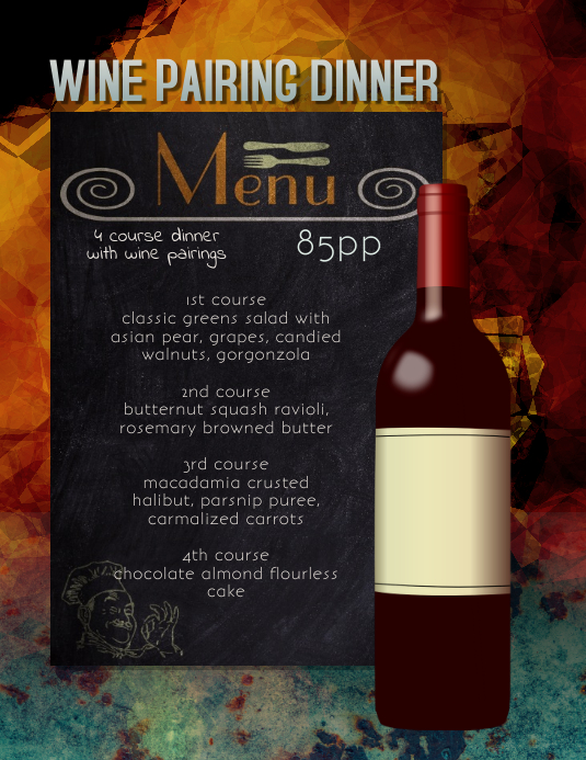 wine Pairing Dinner Flyer Template Løbeseddel (US Letter)