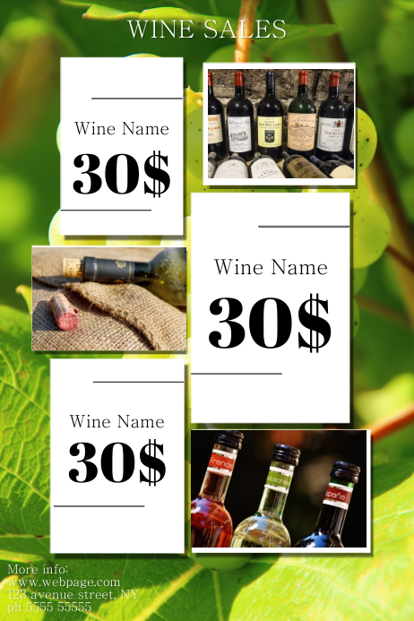 Wine sales flyer template