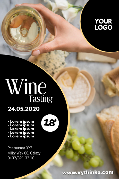 Wine Tasting Event Fair Bar Store Shop Flyer Poster template
