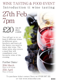 Wine Tasting Event Poster A4 template
