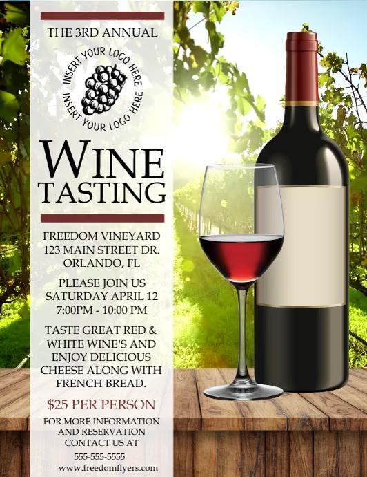 Wine Tasting Flyer Video Template 传单(美国信函)