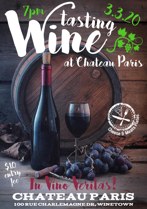 WINE TASTING POSTER A4 template