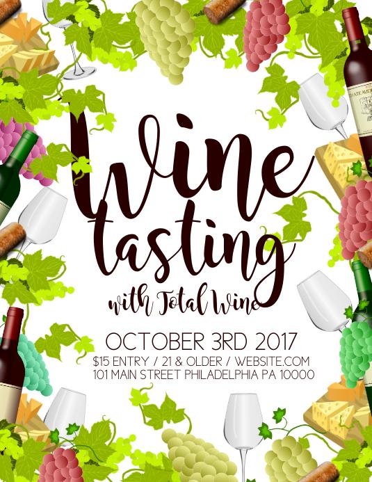 Wine tasting Pamflet (Letter AS) template