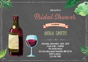 Wine theme birthday shower party invitation A6 template