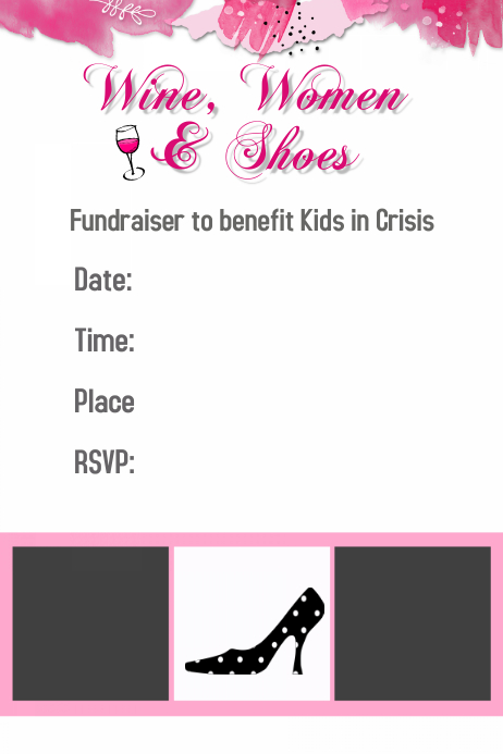 Wine Women Shoes Fashion Show Fundraiser Template Flyer